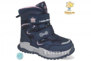 Mėlyni su lipukais Tom.m žieminiai batai su vilnos kailiu mergaitėms 9560