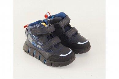 Mėlyni suvarstyti gumyte su lipukais ir užtrauktuku šone Clibee  sportiniai aulinukai berniukams 8637tm 3