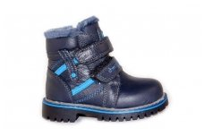 Nat.odos su dirbtiniu kailiu mėlyni su lipukais ir užtrauktuku šone Clibee žieminiai batai berniukams