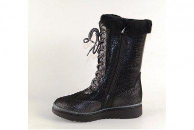 Odiniai su natūraliu kailiu suvarstomi su užtrauktuku šone ilgauliai batai mergaitėms 2