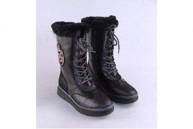 Odiniai su natūraliu kailiu suvarstomi su užtrauktuku šone ilgauliai batai mergaitėms 3
