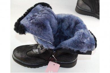 Odiniai su natūraliu kailiu suvarstomi su užtrauktuku šone ilgauliai batai mergaitėms 4