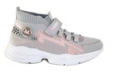 Pilki medžiaginiai  įmaunami užsegami lipduku suvarstyti gumyte Clibee sportiniai batai mergaitėms 4480p