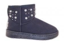 """Pilki medžiaginiai su karoliukais ir kniedėmis žieminiai moteriški batai su kailiu - """"ugai"""""""