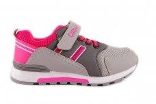 Pilki-rožiniai suvarstyti gumyte su lipduku Clibee sportiniai batai mergaitėms