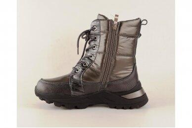Pilki boloninės medžiagos suvarstomi su užtrauktuku šone vilnos kailiu Tomm žieminiai batai mergaitėms 2