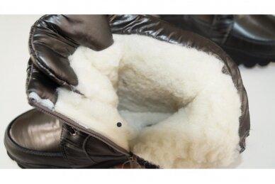 Pilki boloninės medžiagos suvarstomi su užtrauktuku šone vilnos kailiu Tomm žieminiai batai mergaitėms 4