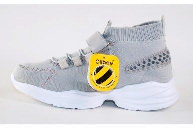 Pilki medžiaginiai  įmaunami užsegami lipduku suvarstyti gumyte Clibee sportiniai batai mergaitėms 4480p 2