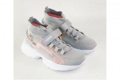 Pilki medžiaginiai  įmaunami užsegami lipduku suvarstyti gumyte Clibee sportiniai batai mergaitėms 4480p 3