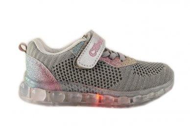 Pilki medžiaginiai su lemputėmis užsegami lipduku suvarstyti gumyte Clibee sportiniai batai mergaitėms