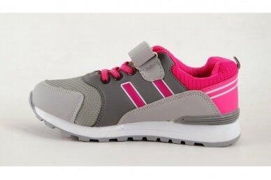 Pilki-rožiniai suvarstyti gumyte su lipduku Clibee sportiniai batai mergaitėms 2