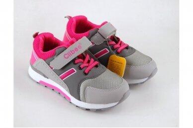 Pilki-rožiniai suvarstyti gumyte su lipduku Clibee sportiniai batai mergaitėms 3