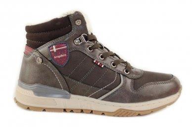 Pilki suvarstomi ArrigoBelo žieminiai sportiniai batai su vilnos kailiu paaugliams 9129p