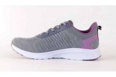 Pilki-violetiniai medžiaginiai suvarstomi Badoxx moteriški sportiniai bateliai 2