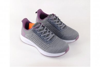 Pilki-violetiniai medžiaginiai suvarstomi Badoxx moteriški sportiniai bateliai 3
