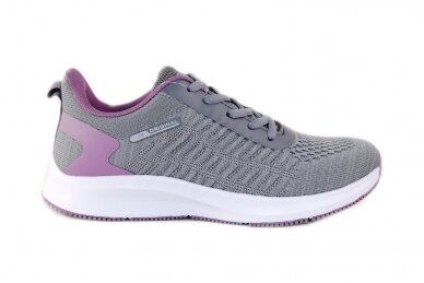 Pilki-violetiniai medžiaginiai suvarstomi Badoxx moteriški sportiniai bateliai