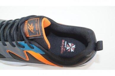 Pilki+oranžiniai baltu storu padu suvarstomi AxBoxing sportiniai bateliai paaugliams 4