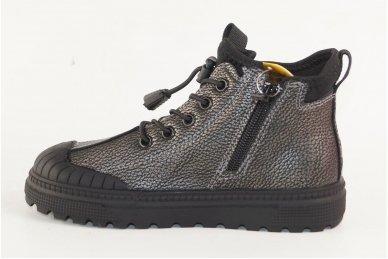 Pilkšvai sidabriniai įkišami su užtrauktuku šone suvarstyti gumyte Clibee laisvalaikio batai mergaitėms 2