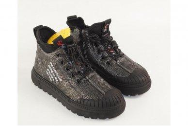Pilkšvai sidabriniai įkišami su užtrauktuku šone suvarstyti gumyte Clibee laisvalaikio batai mergaitėms 3