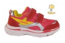 Raudoni užsegami lipdukais lengvučiai Tom.m sportiniai bateliai mergaitėms