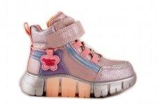 Rožiniai-perlamutriniai suvarstyti gumyte su lipuku ir užtrauktuku šone Clibee  sportiniai aulinukai mergaitėms 8635v