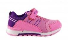 Rožiniai suvarstyti gumyte su lipduku Clibee sportiniai batai mergaitėms