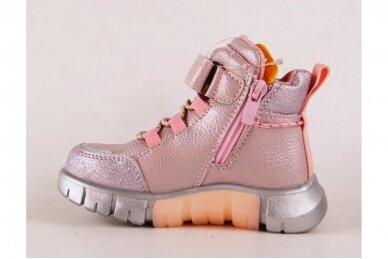 Rožiniai-perlamutriniai suvarstyti gumyte su lipuku ir užtrauktuku šone Clibee  sportiniai aulinukai mergaitėms 8635v 2
