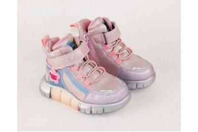 Rožiniai-perlamutriniai suvarstyti gumyte su lipuku ir užtrauktuku šone Clibee  sportiniai aulinukai mergaitėms 8635v 3