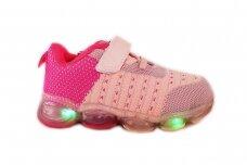Ružavi medžiaginiai suvarstyti gumyte su lipuku LED Badoxx sportiniai bateliai mergaitėms