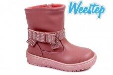 Ružavi papuošti dirželiu su kniedėmis Weestep žieminiai batai mergaitėms su vilnos kailiu