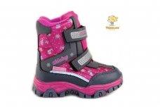 Ružavi-pilki su lipdukais Tom.m sniego batai mergaitėms su vilnos kailiu 3935