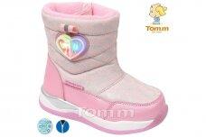Ružavi su užtrauktuku šone LED Tom.m sniego batai mergaitėms su vilnos kailiu 7705r