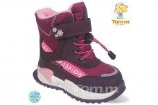 Ružavi suvarstyti gumyte užsegami lipuku Tom.m žieminiai batai su vilnos kailiu mergaitėms 9529v