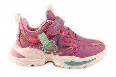 Ružavi užsegami lipduku suvarstyti gumyte papuošti širdele Clibee sportiniai batai mergaitėms
