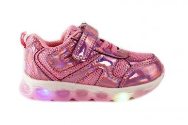 Ružavi blizgantys su lemputėmis užsegami lipduku suvarstyti gumyte Clibee sportiniai bateliai mergaitėms
