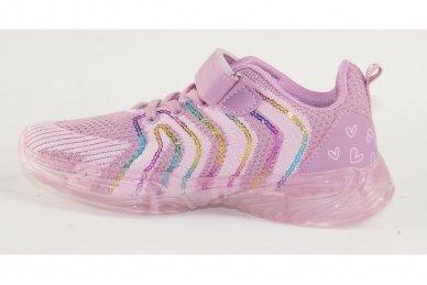 Ružavi medžiaginiai užsegami lipduku suvarstyti gumyte Clibee sportiniai batai mergaitėms 2