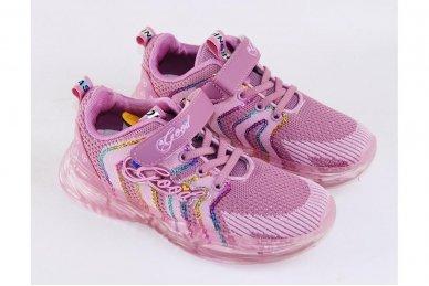 Ružavi medžiaginiai užsegami lipduku suvarstyti gumyte Clibee sportiniai batai mergaitėms 3
