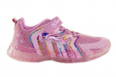 Ružavi medžiaginiai užsegami lipduku suvarstyti gumyte Clibee sportiniai batai mergaitėms