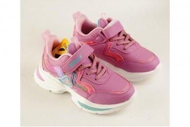 Ružavi užsegami lipduku suvarstyti gumyte papuošti širdele Clibee sportiniai batai mergaitėms 3