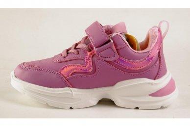 Ružavi užsegami lipduku suvarstyti gumyte papuošti širdele Clibee sportiniai batai mergaitėms 2