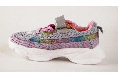 Ružavi-violetiniai medžiaginiai užsegami lipduku suvarstyti gumyte Clibee sportiniai batai mergaitėms 2