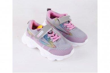 Ružavi-violetiniai medžiaginiai užsegami lipduku suvarstyti gumyte Clibee sportiniai batai mergaitėms 3