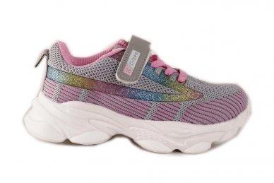 Ružavi-violetiniai medžiaginiai užsegami lipduku suvarstyti gumyte Clibee sportiniai batai mergaitėms