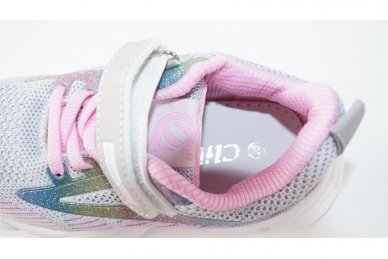 Ružavi-violetiniai medžiaginiai užsegami lipduku suvarstyti gumyte Clibee sportiniai batai mergaitėms 4