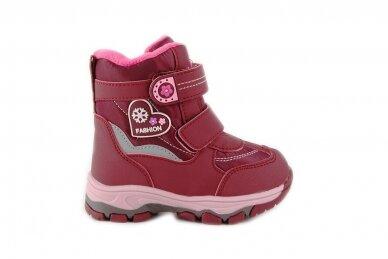 Ružavi žieminiai sniego batai  Bessky mergaitėms su vilnos kailiu papuošti snaigėmis 0105