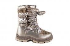 """""""Sidabriniai"""" boloninės medžiagos su užtrauktuku šone ir vilnos kailiu Bessky žieminiai batai mergaitėms 9278"""