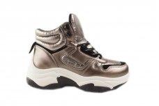 Sidabriniai suvarstomi storu guminiu padu moteriški sportiniai laisvalaikio batai
