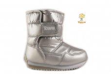 """""""Sidabriniai"""" užsegami lipduku boloninės medžiagos viršumi sniego batai su vilnos kailiu"""