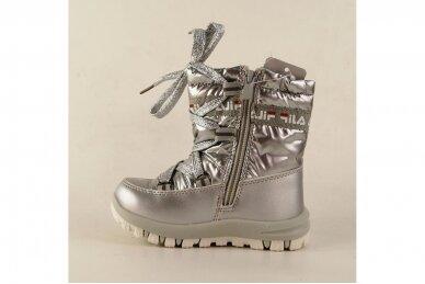 """""""Sidabriniai"""" boloninės medžiagos su užtrauktuku šone ir vilnos kailiu Bessky žieminiai batai mergaitėms 9272 2"""
