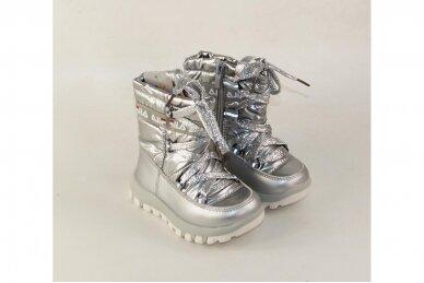 """""""Sidabriniai"""" boloninės medžiagos su užtrauktuku šone ir vilnos kailiu Bessky žieminiai batai mergaitėms 9272 3"""